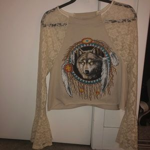 Vintage lace bell sleeve wolf cropped cotton top